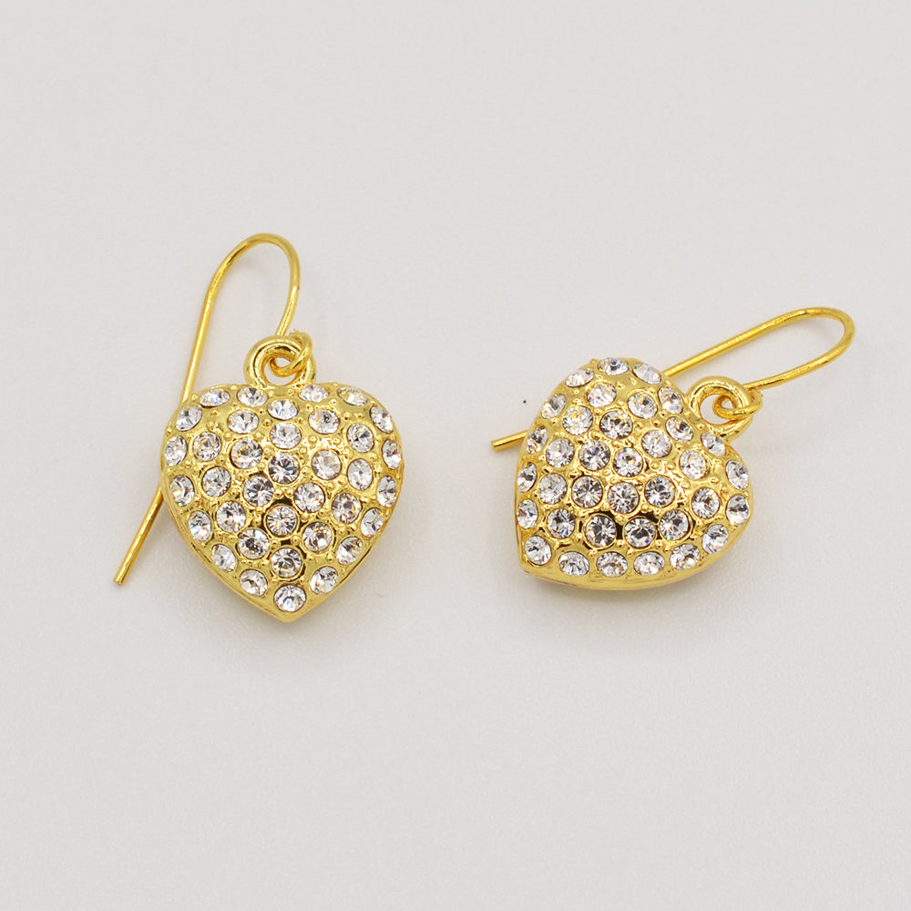 Swarovski Clear Crystal Pave' Heart Earrings - Gold Plated