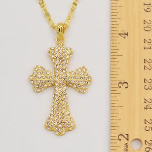 Swarovski Clear Crystal Pave' Cross - Gold Plated