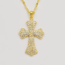 Load image into Gallery viewer, Swarovski Clear Crystal Pave' Cross - Gold Plated