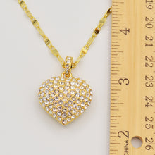 Load image into Gallery viewer, Swarovski Clear Crystal Pave' Puffed Heart Pendant -  Gold Plated