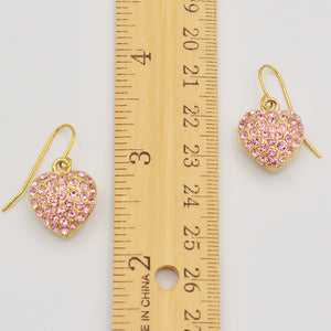 Swarovski Pink Crystal Pave' Heart Earrings - Gold Plated