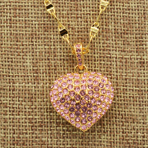 Swarovski Pink Pave' Crystal Puffed Heart Pendant - Gold Plated