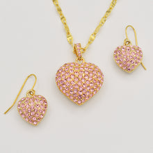 Load image into Gallery viewer, Swarovski Pink Crystal Pave' Heart Earrings - Gold Plated