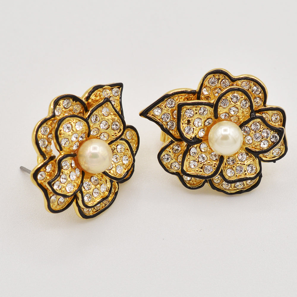 Swarovski Crystal Pearl Rose Earrings - Gold or Rhodium Plated