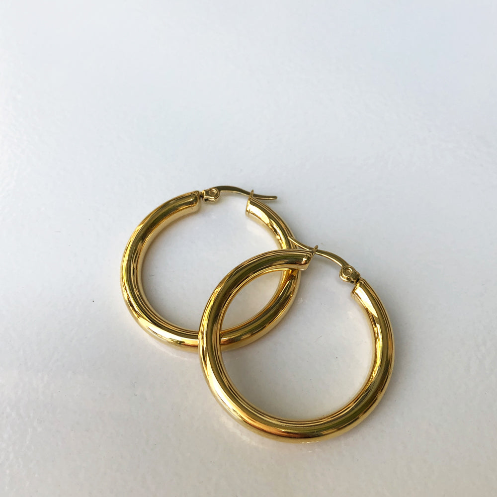 Gold Plated thick Stainless Steel Earrings