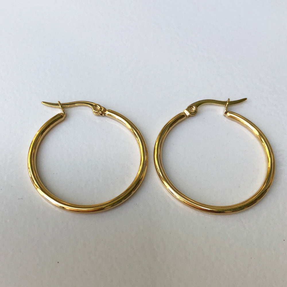 Gold Plated Stainless Steel thin Hoop Earrings