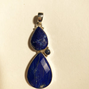 Faceted Double Teardrop Lapis Lazuli Silver Pendant one of a kind