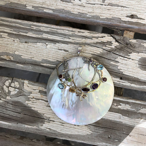 Mother Of Pearl Pendant with Peridot, Blue Topaz, Citrine, Garnet and Amethysts