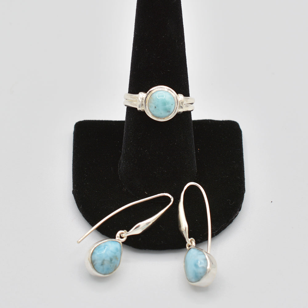 Larimar Sterling Silver Ring - size 9