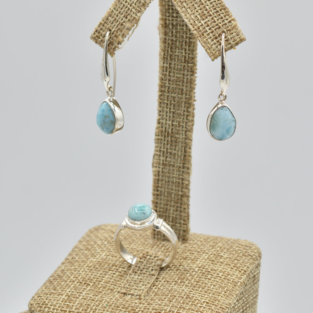 Larimar Sterling Silver Earrings