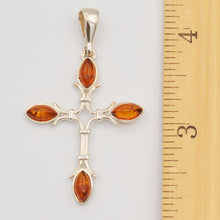 Load image into Gallery viewer, Sterling Silver Amber Cross