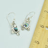 Sterling Silver Small Frog Earrings, Mother of Pearl, Coral or Abalone