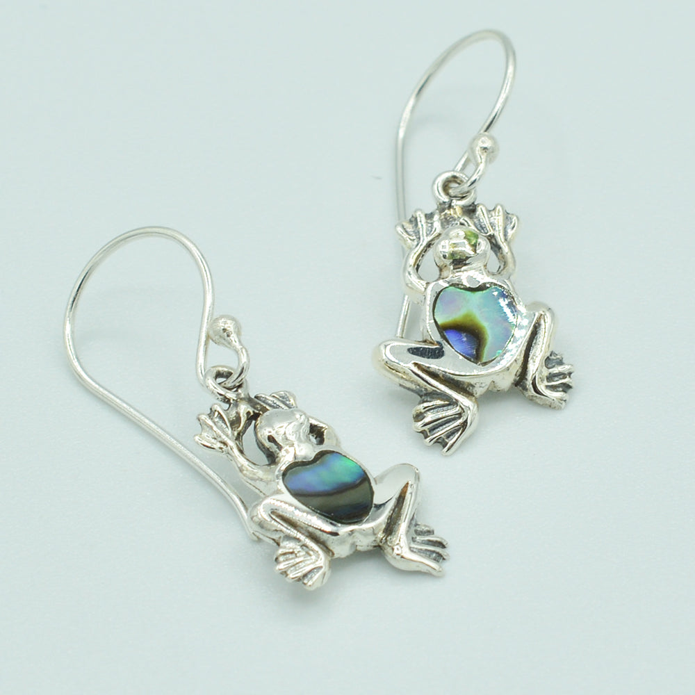 Image of Sterling Silver Small Frog Earrings, Mother of Pearl, Coral or Abalone