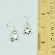 Load image into Gallery viewer, Sterling Silver Small Frog Earrings, Mother of Pearl, Coral or Abalone