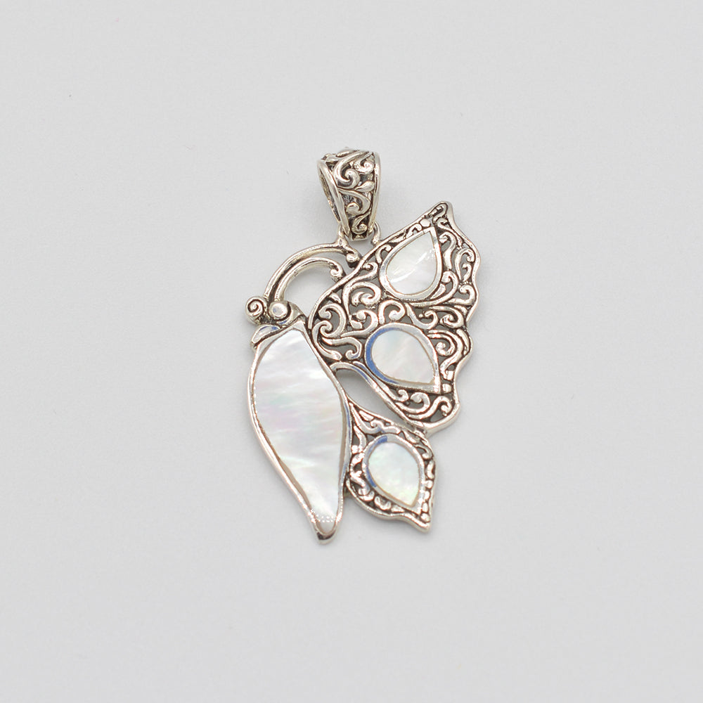 Sterling Silver Abalone or Mother of Pearl or Red Coral Butterfly Pendant