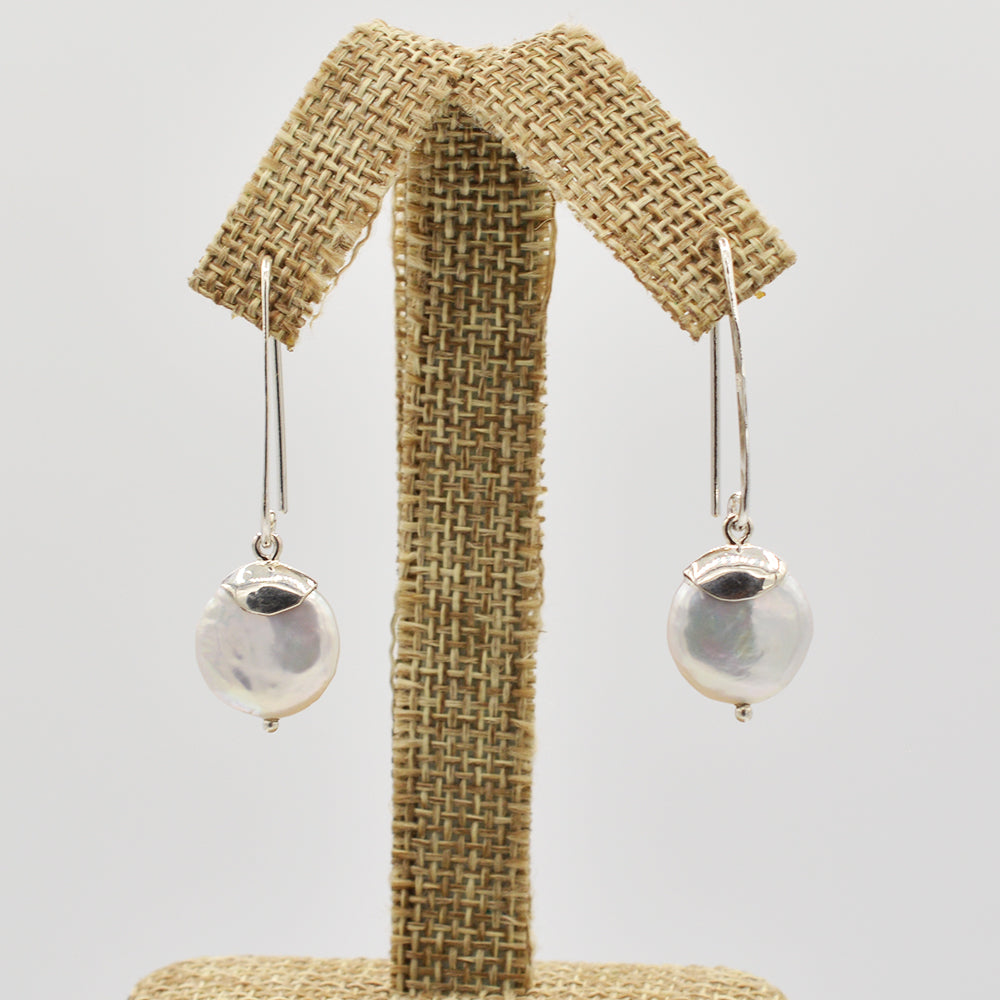 Image of Sterling Silver Coin Pearl Earrings