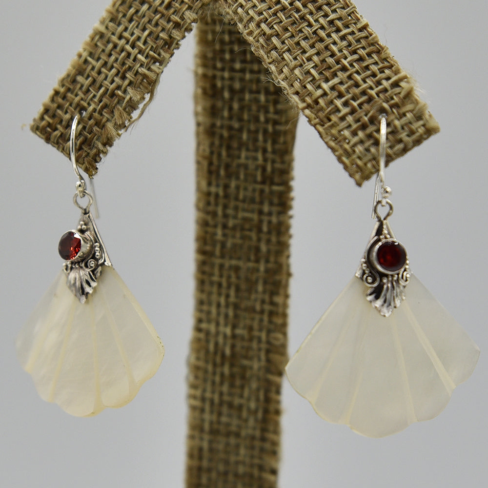 Mother of Pearl and Garnet Sterling Silver Pierced Earrings