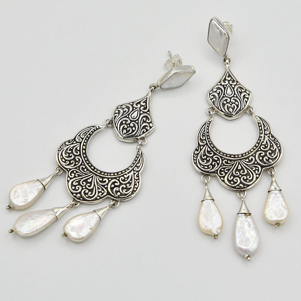 Mother of Pearl Sterling Silver Chandelier Earrings