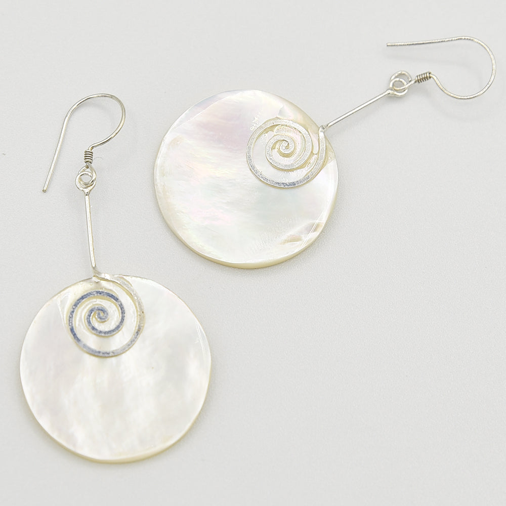 Mother of Pearl Sterling Silver Dangle Earrings