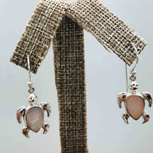 Load image into Gallery viewer, Mother of Pearl and sterling Silver Turtle Earrings