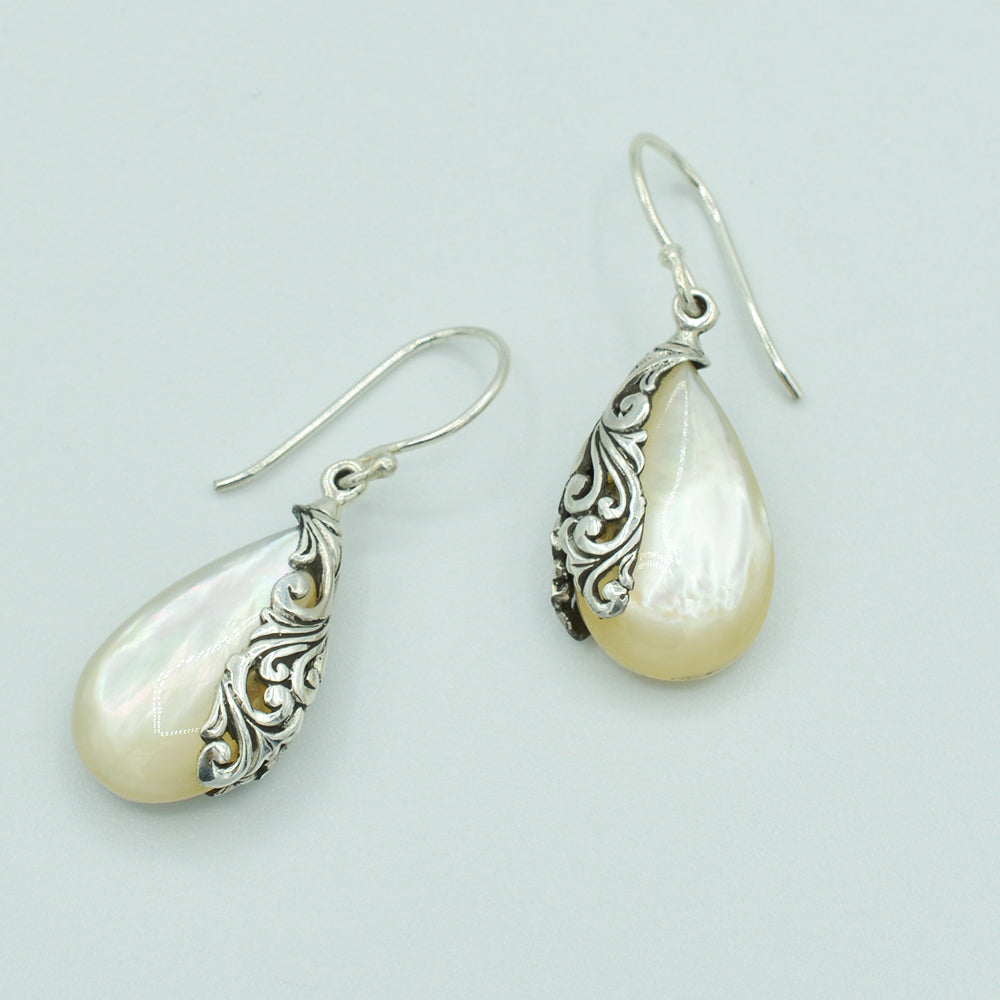 Mother of Pearl and Sterling Silver Earrings - Bali style
