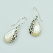 Load image into Gallery viewer, Mother of Pearl and Sterling Silver Earrings - Bali style