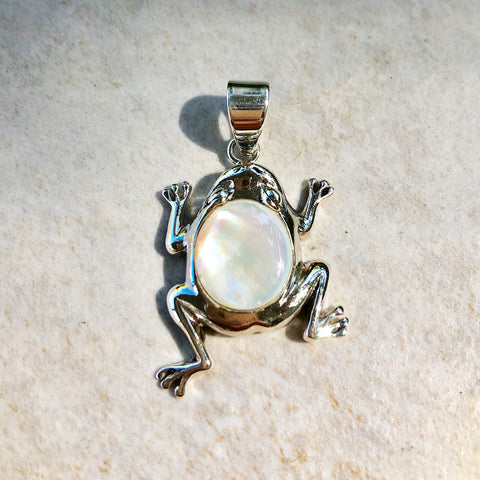 Mother of Pearl and Sterling Silver Frog Pendant