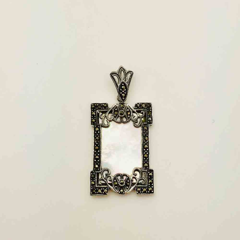 Sterling Silver Marcasite and Mother of Pearl Pendant