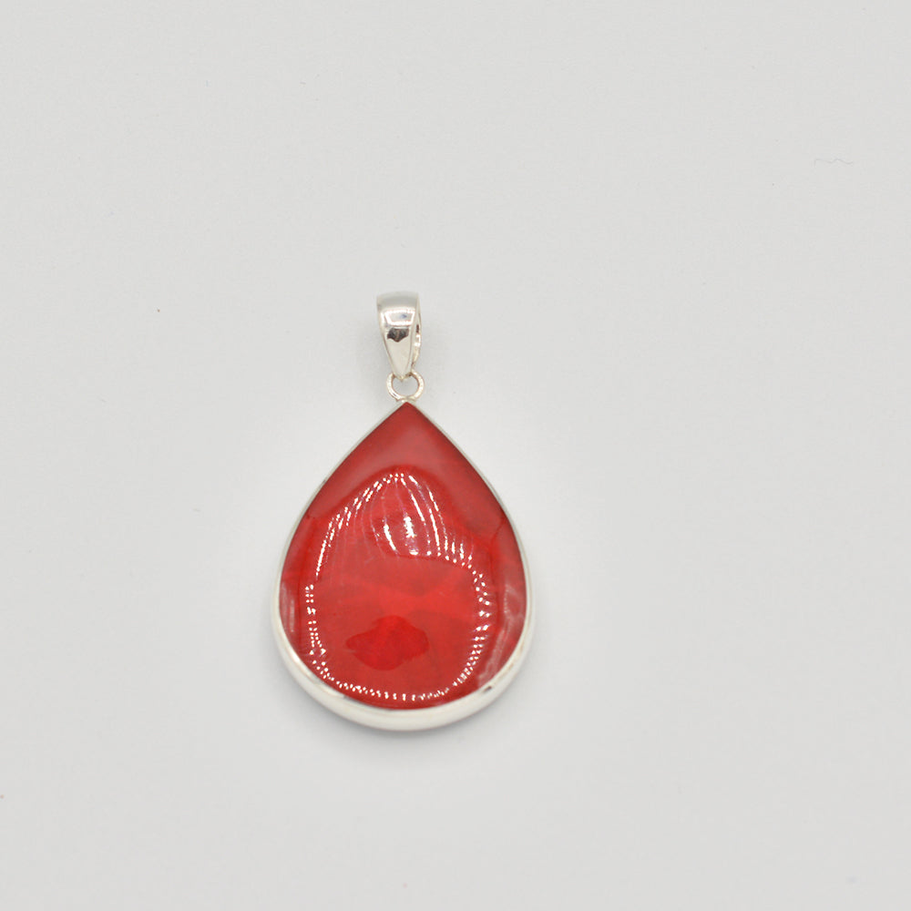 Abalone OR Red Coral Double Sided Sterling Silver Pendant