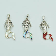 Load image into Gallery viewer, Mother of Pearl Sterling Silver Mermaid Pendant