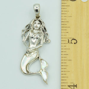 Mother of Pearl Sterling Silver Mermaid Pendant