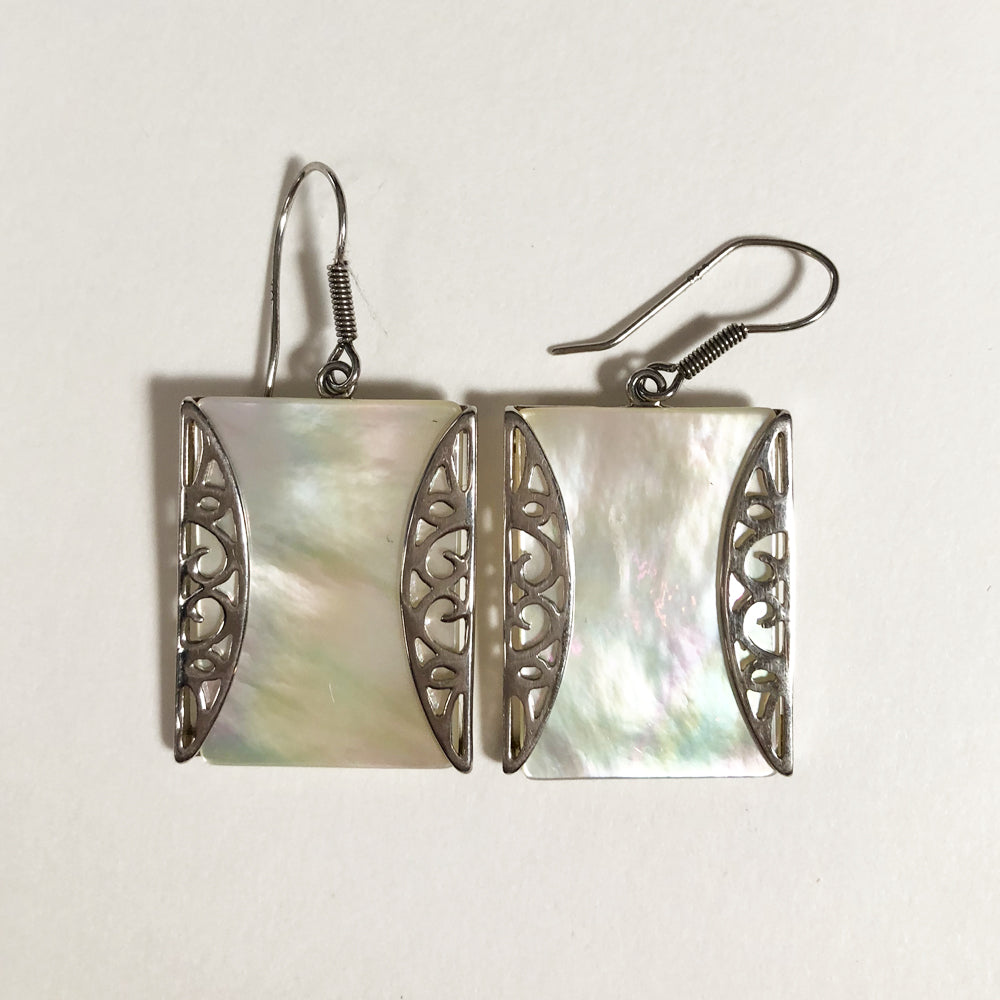 "One of a Kind Mother-of-Pearl 1"" square Silver Earrings"