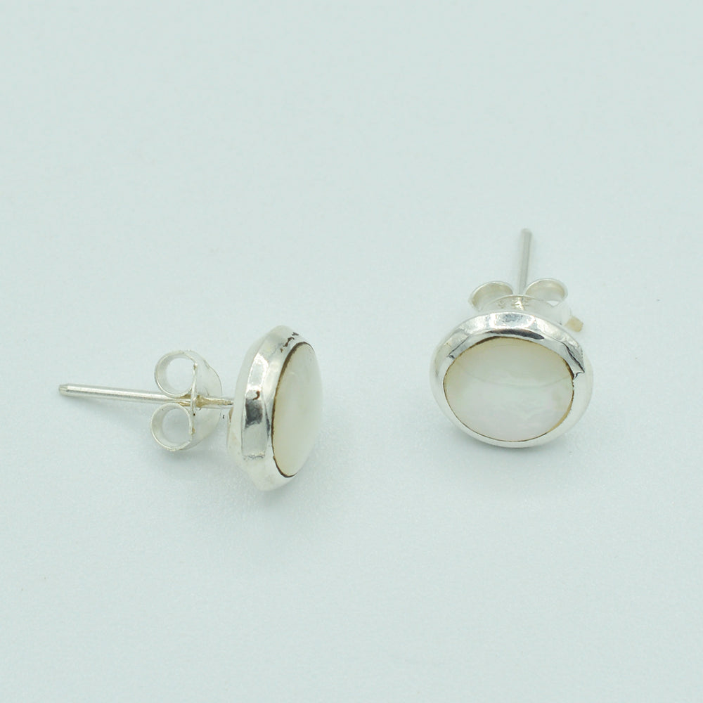Round Sterling Silver Mother of Pearl Stud Earrings