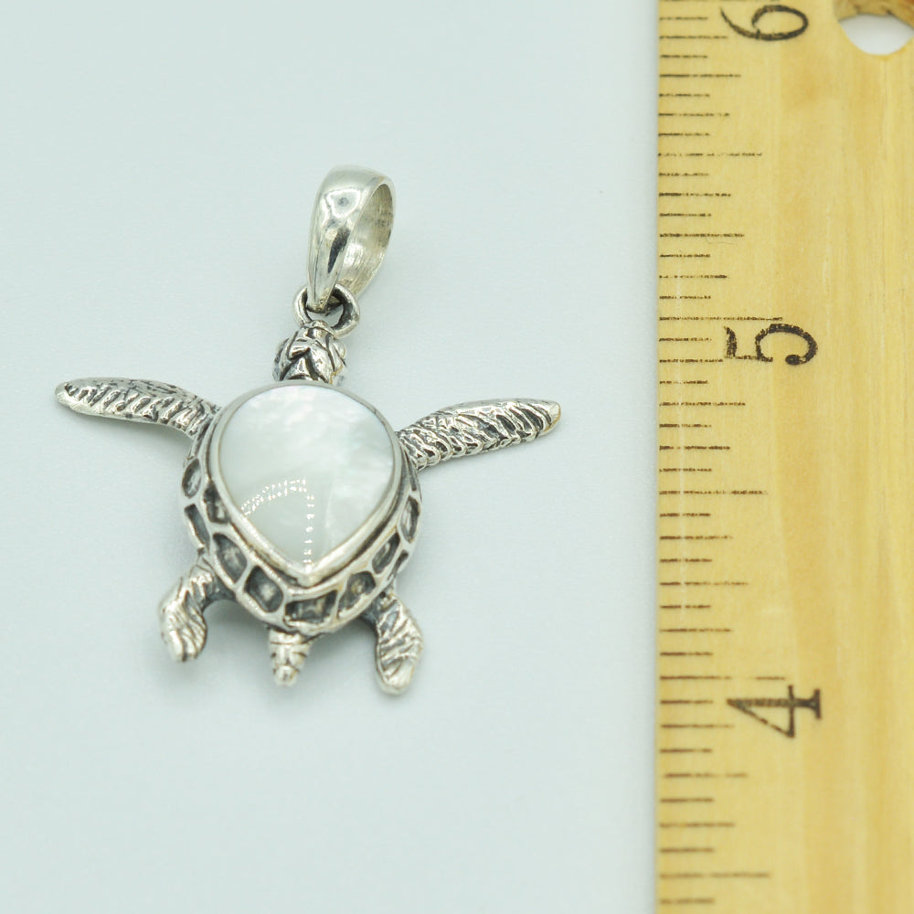 Small Mother of Pearl Sterling Silver Sea Turtle Pendant
