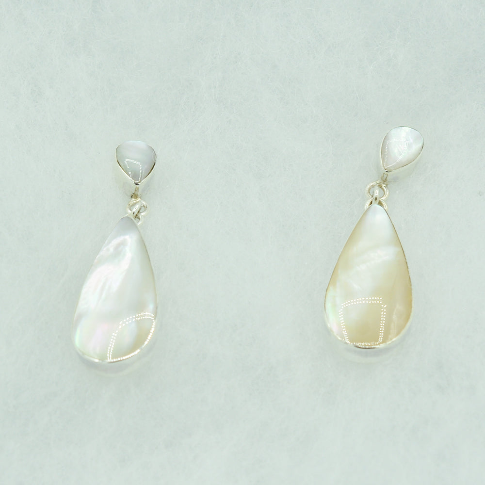 Sterling Silver Teardrop Earrings inlaid with Mother-of-Pearl, Red Coral, or Abalone