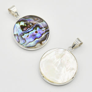 Double-sided Abalone, Red Coral and Mother of Pearl Round Pendant