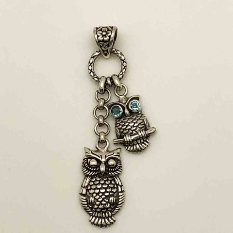 Sterling Silver Owl Pendant with Blue Topaz Eyes