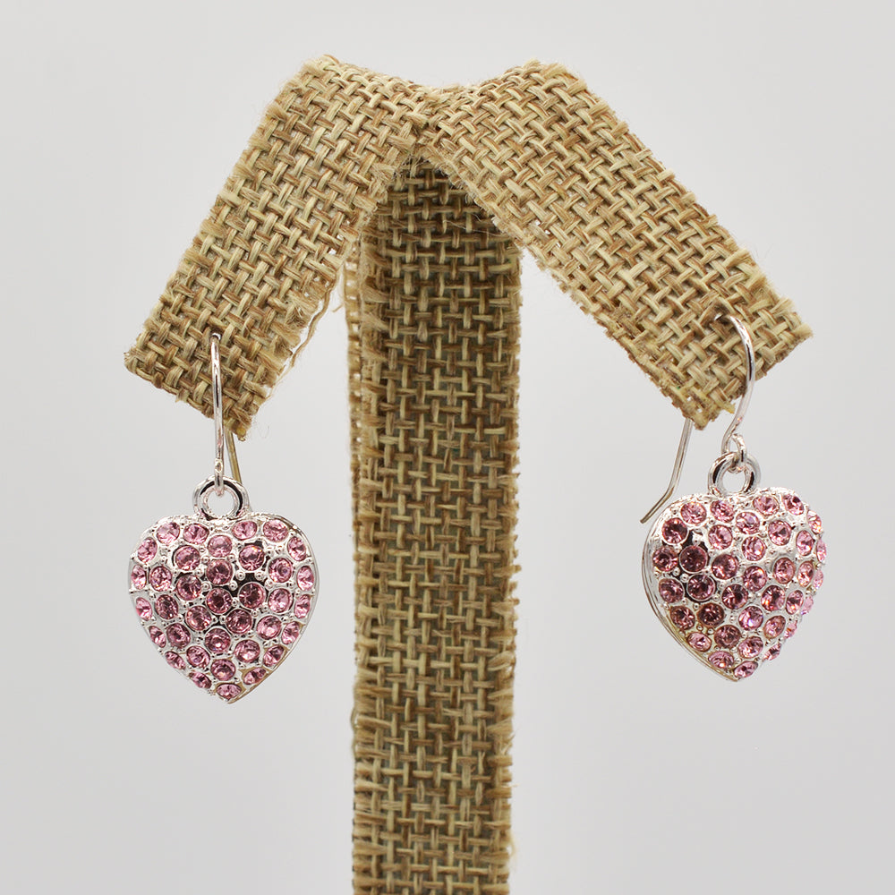 Swarovski Pink Crystal Pave' Heart Earrings - Rhodium Plated