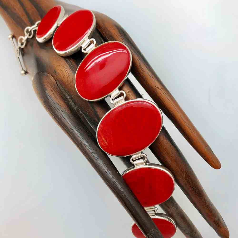 Sterling Silver Mother of Pearl and Coral Double-sided Bracelet