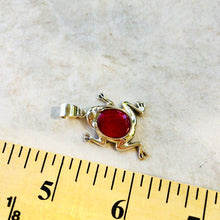 Load image into Gallery viewer, Red Coral Sterling Silver Frog Pendant