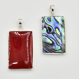 Mother of Pearl, Abalone and Coral Double Sided Pendant