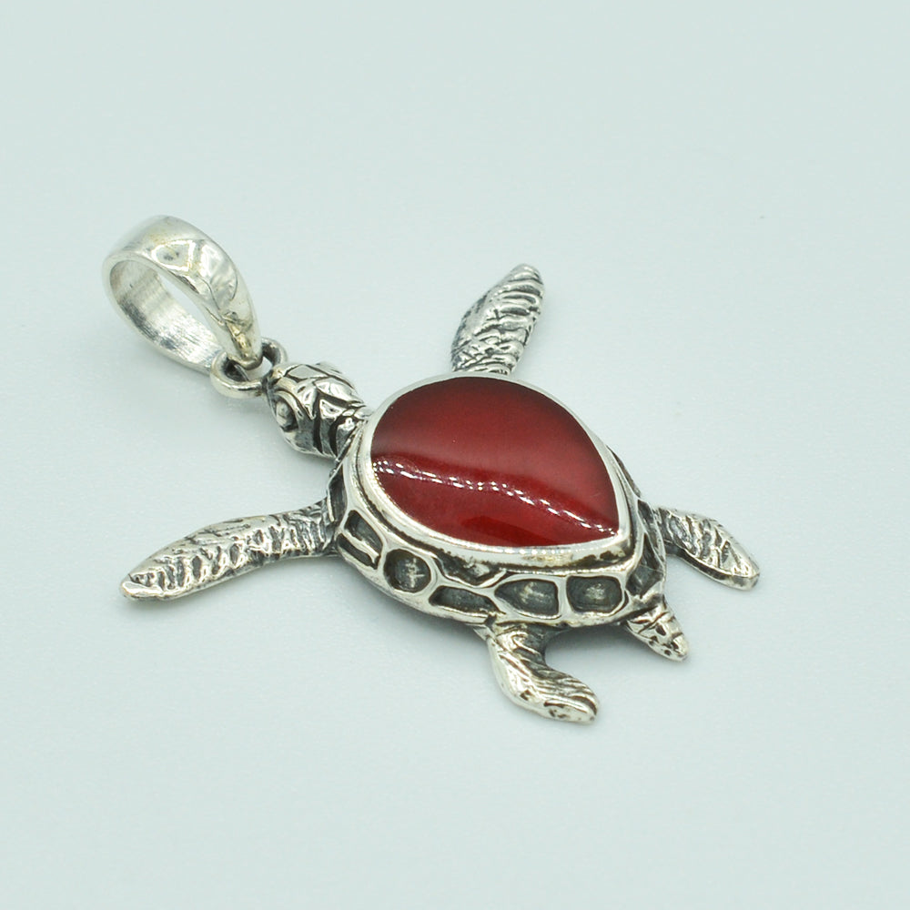 Small Red Coral Sterling Silver Sea Turtle Pendant