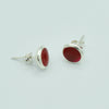 Round Sterling Silver Red Coral Stud Earrings