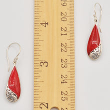 Load image into Gallery viewer, Red Coral Sterling Silver Earrings