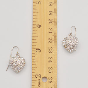 Swarovski Clear Crystal Pave' Heart Earrings - Rhodium Plated