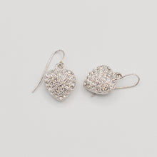 Load image into Gallery viewer, Swarovski Clear Crystal Pave' Heart Earrings - Rhodium Plated