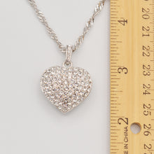 Load image into Gallery viewer, Swarovski Clear Crystal Pave' Puffed Heart Pendant -  Rhodium Plated