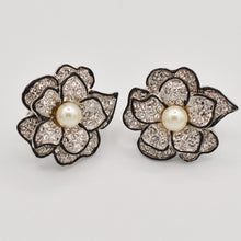 Load image into Gallery viewer, Swarovski Crystal Pearl Rose Earrings - Gold or Rhodium Plated