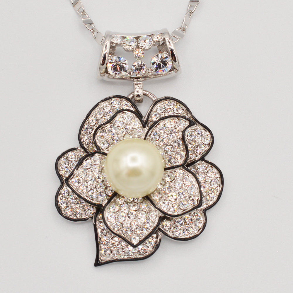 Swarovski Crystal Pearl Rose Pendant - Gold or Rhodium Plated