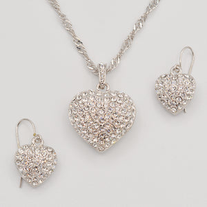 Swarovski Clear Crystal Pave' Puffed Heart Pendant -  Rhodium Plated